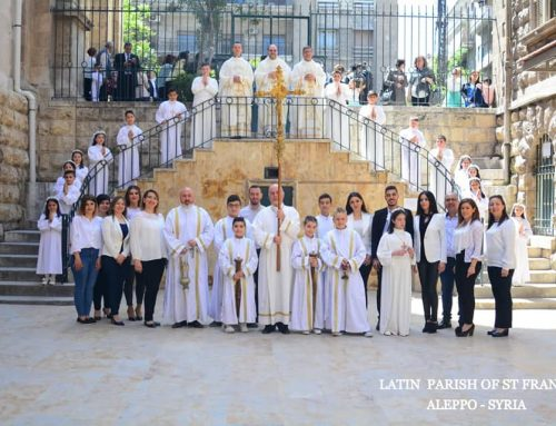 The celebrate of granting the first Communion to seventeen children of the parish