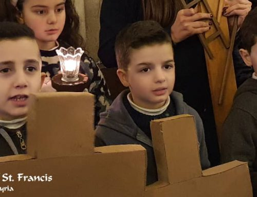 The children carry the cross on the second Friday of the Way of the Cross and pray for all the children who suffer.